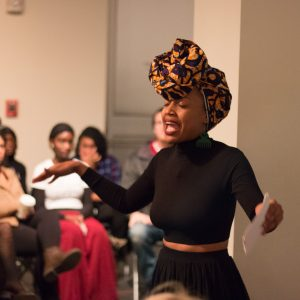 CSU student (name) recites poetry during the Black Feminist Manifesto release party at the University Center for the Arts on Oct. 27, 2017. (Jack Starkebaum | Collegian)